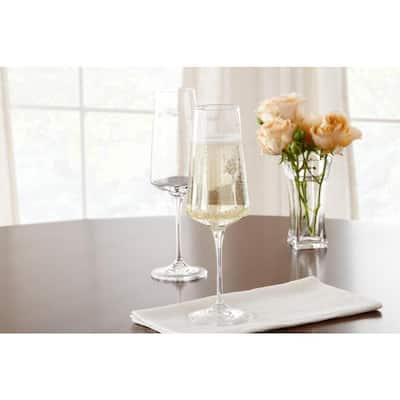 Genoa 12 oz. Lead-Free Crystal Champagne Flutes (Set of 4)