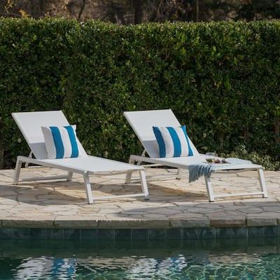 White 2-Piece Aluminum Outdoor Chaise Lounge Set