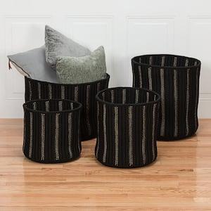 Essentia 12 in. x 12 in. x 12 in. Black Round Polypropylene Braided Basket