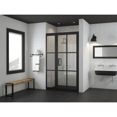 Gridscape Series 45.75 in. x 76 in. Framed Hinge Shower Door and Inline Panel in Black and Clear Glass with Handle