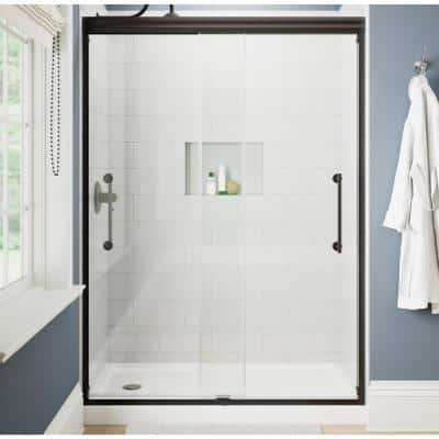 Ashmore 60 in. W x 74-3/8 in. H Sliding Frameless Shower Door in Bronze with 5/16 in. (8 mm) Clear Glass