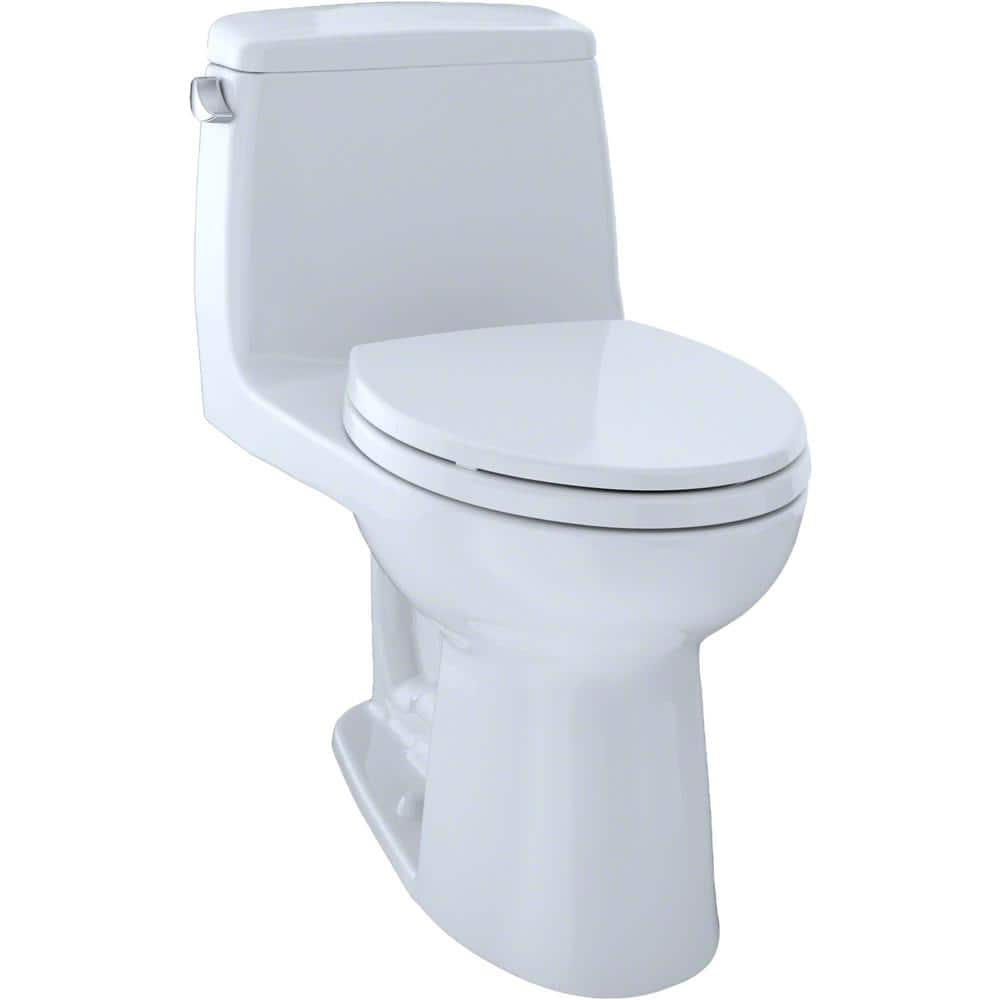 Toto Eco Ultramax Ada Compliant 1 Piece 1 28 Gpf Single Flush Elongated Toilet With Cefiontect In Cotton White Seat Included Ms854114elg 01 The Home Depot