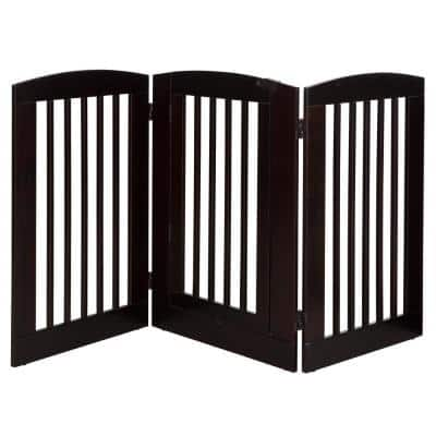 Ruffluv 36 in. H Wood 3-Panel Expansion Cappuccino Pet Gate with Door