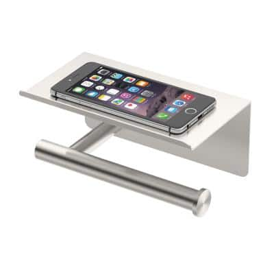Latitude II, Toilet Paper Holder with Mobile Shelf in Satin Nickel