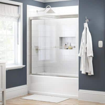 Lyndall 60 in. x 58-1/8 in. Semi-Frameless Traditional Sliding Bathtub Door in Nickel with Clear Glass