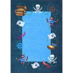 Pirate Playmat Blue 5 ft. x 8 ft.  Area Rug