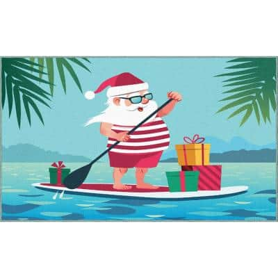 Paddleboard Santa Light Blue 1 ft. 6 in. x 2 ft. 6 in. Holiday Area Rug