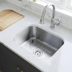 Stainless Steel 23 in. Single Bowl Undermount Kitchen Sink with White SinkLink and additional accessories