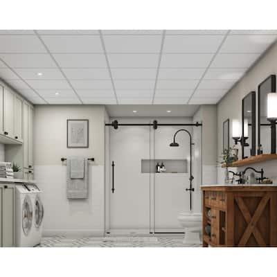 Easy Elegance Textured White 2 ft. x 2 ft. PVC Square Edge Lay-in Ceiling Tile ( 40 sq. ft. /case)