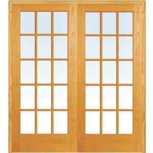 72 in. x 80 in. Both Active Unfinished Pine Glass 15-Lite Clear True Divided Prehung Interior French Door