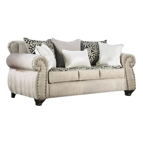 William's Home Furnishing Sinatra 41.50 in. Light Mocha Solid Fabric 3-Seat English Rolled Arm Sofa with Nailhead | The Home Depot