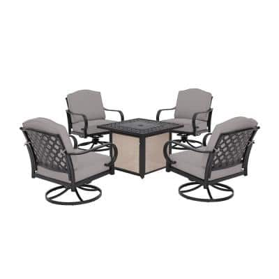 Laurel Oaks 5-Piece Brown Steel Outdoor Patio Fire Pit Seating Set with CushionGuard Stone Gray Cushions