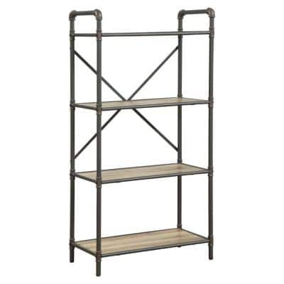 49.25 in. Brown/Gray Metal 4-shelf Standard Bookcase with Open Back