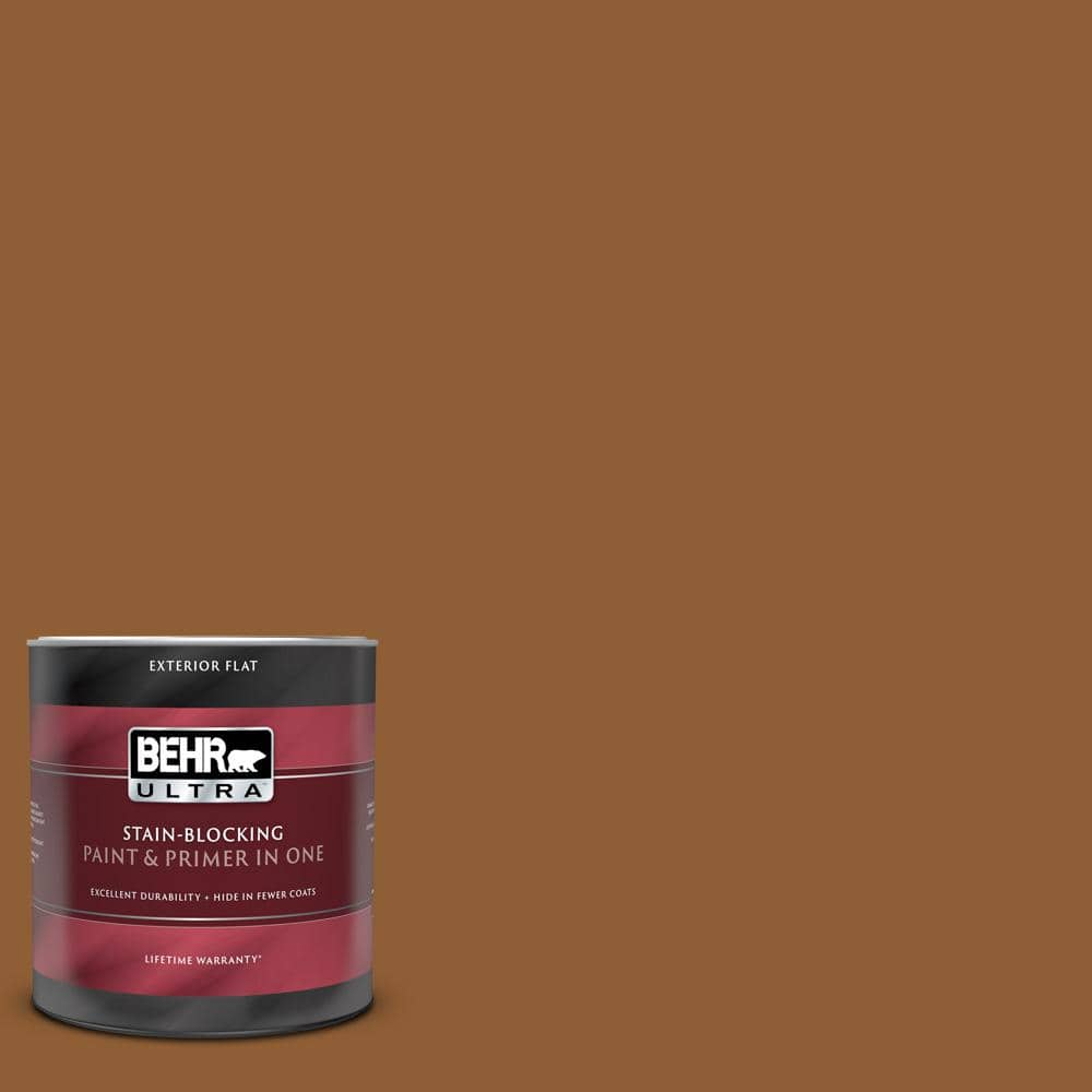 Behr Ultra 1 Qt S250 7 Moroccan Spice Flat Exterior Paint And Primer In One 485304 The Home Depot
