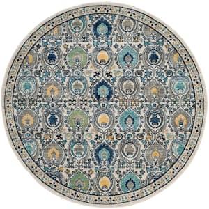 Evoke Ivory/Gray 7 ft. x 7 ft. Round Border Geometric Floral Area Rug