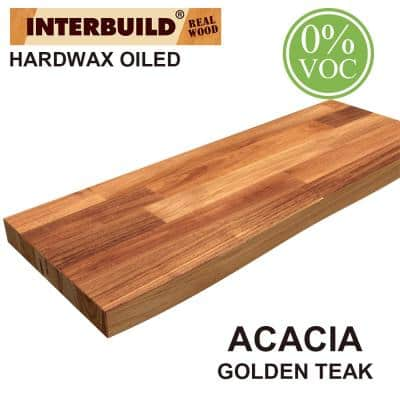 Acacia 2.5 ft. L x 10 in. D x 1.5 in. T Butcher Block Countertop Floating Wall Shelf in Golden Teak Stain with Live Edge