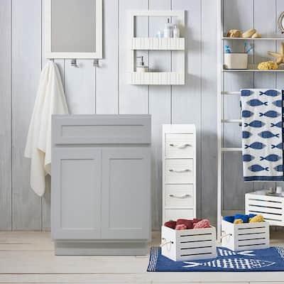 24 in. W x 21 in. D x 32.5 in. H 2-Doors Bath Vanity Cabinet Only in White