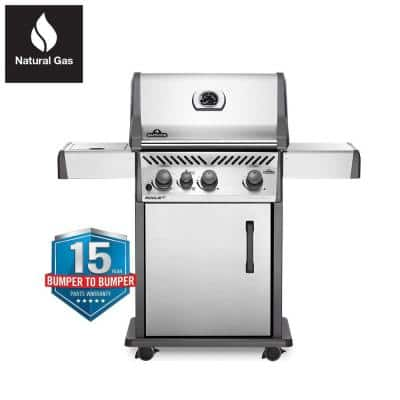 Rogue 3-Burner Natural Gas Grill with Infrared Side Burner in Stainless Steel