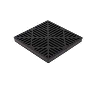 12 in. Square Catch Basin Drain Grate, Black Plastic
