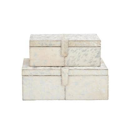 Wide Rectangular Wood and Leather Silver Boxes (Set of 2)