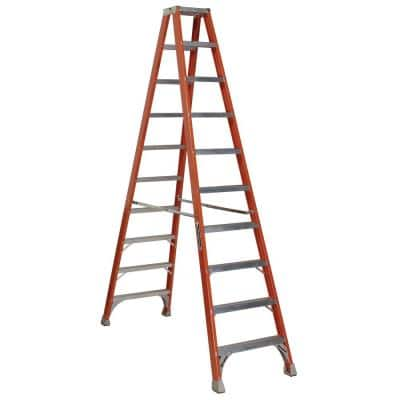 10 ft. Fiberglass Twin Step Ladder with 300 lbs. Load Capacity Type IA Duty Rating