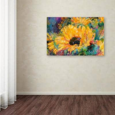 """30 in. x 47 in. """"Blue Sunflowers"""" by Richard Wallich Printed Canvas Wall Art"""