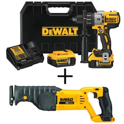 20-Volt MAX XR Cordless Brushless 3-Speed 1/2 in. Hammer Drill with (2) 20-Volt 5.0Ah Batteries & Reciprocating Saw