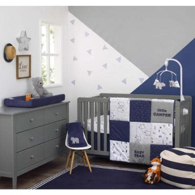 4-Piece Explore Baby Bear Nursery Crib Bedding Set - Comforter, 100% Cotton Crib Sheet, Dust Ruffle, Changing Pad Cover