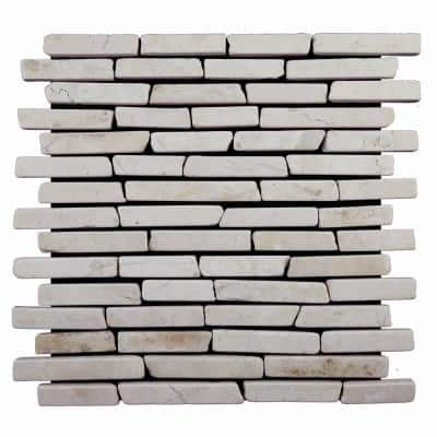 Sticks Tile White 11-3/4 in. x 11-3/4 in. x 9.5 mm Indonesian Marble Mesh-Mounted Mosaic Tile (10.67 sq. ft. / case)