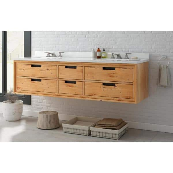 Home Decorators Collection Vinespring 72 In W X 22 In D Double Wall Hung Bath Vanity In Wood Tone With Marble Vanity Top In White With White Sink Md V002 2017 The Home Depot