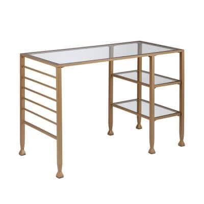 42.8 in. Rectangular Gold Metal/Glass Writing Desks with Glass Top
