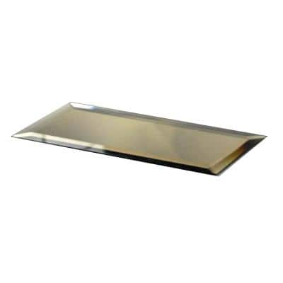 Reflections Gold Beveled Subway 3 in. x 12 in. Glass Mirror Wall Tile (14 sq. ft./Case)