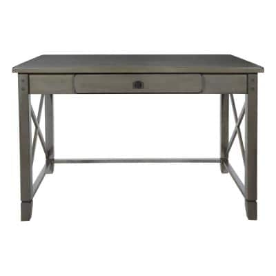 49 in. Rectangular Gray Wash 1 Drawer Writing Desk with Solid Wood Material