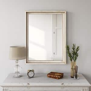 Medium Rectangle Distressed Off-White Finish Modern Mirror (26 in. H x 20.5 in. W)