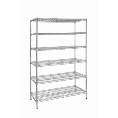 Silver 6-Tier Heavy Duty Metal Wire Shelving Unit (48 in. W x 72 in. H x 24 in. D)