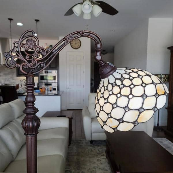 Amora Lighting 62 In Tiffany Style Jeweled White Cream Reading Floor Standing Vintage Lamp Am028fl12b The Home Depot