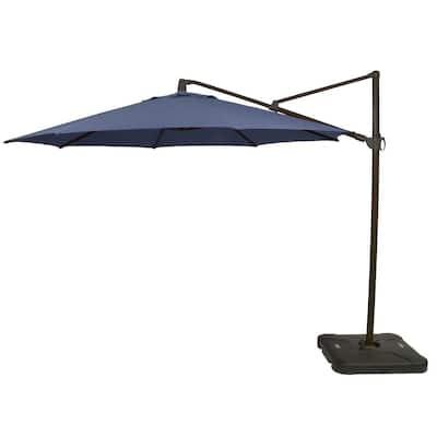 11 ft. Aluminum Cantilever Tilt Patio Umbrella in CushionGuard Sky with Black Pole