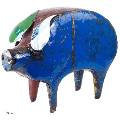 16in. Painted Recycled Iron Pig