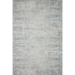 Drift Ivory/Sky 2 ft. 3 in. x 3 ft. 9 in. Contemporary 100% Polyester Pile Area Rug