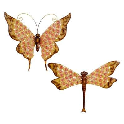 25 in. and 27 in. Multi-Colored Metal Butterfly And Dragonfly Garden Statues (Set Of 2)