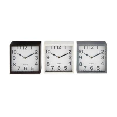 Multi Colored Metal Traditional Analog Tabletop Clock (Set of 3)