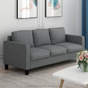 Bayonne 75.4 in. Gunmetal Polyester 3-Seater Lawson Sofa with Square Arms