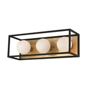 Aira 3-Light Aged Brass 15 in. W LED Bath Light with Opal Etched Glass and Black Accents