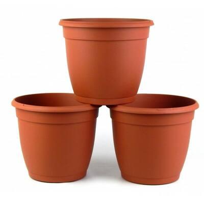 8 in. Dia Decorative Terra Cotta Plastic Pot (3-Pack)
