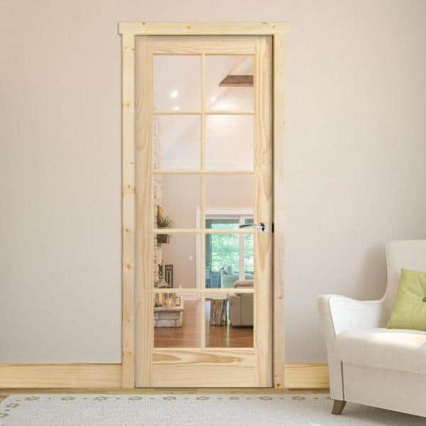 Steves Sons 30 In X 80 In 10 Lite French Unfinished Pine Left Hand Solid Core Wood Single Prehung Interior Door With Bronze Hinge M64n2nnnlllhb The Home Depot