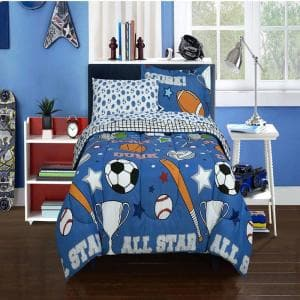 Game Day Blue Twin size Bed in a Bag with Reversible Comforter
