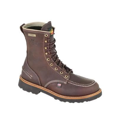 Flyway USA Men's 8 in. Work Boots - Soft Toe - Briar Pitstop Leather Waterproof Size 10.5 Medium (B)