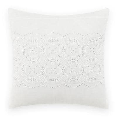 Annabella White Solid Cotton 16 in. x 16 in. Throw Pillow
