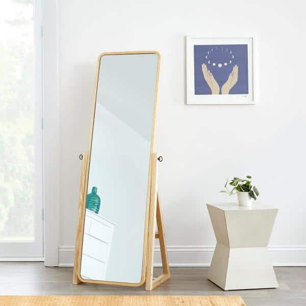 StyleWell - Natural Finish Standing Mirror with Curved Edges (21 in W. X 59 in H.)