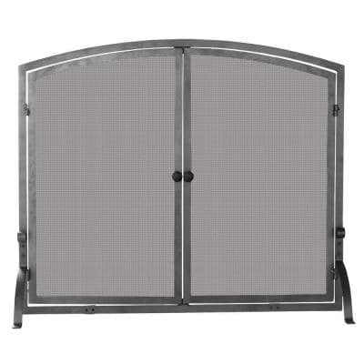 Olde World Iron 44 in. W Steel Frame Single-Panel Fireplace Screen with Doors, Support Legs and Heavy Mesh